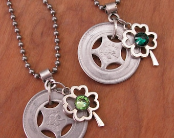 Good Luck Tokens - St. Patricks Day Necklace - Repurposed Aluminum Good Luck Tokens with Four Leaf Clover & Green Crystal Necklace