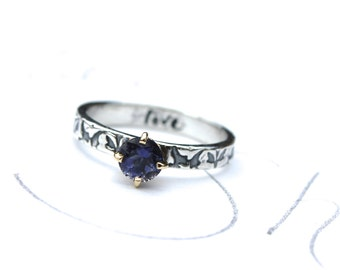 unique engagement ring . iolite engagement ring . diamond alternative engagement ring . vine ring by peaces of indigo made to order