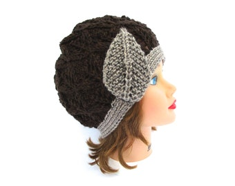 Knit Cloche Hat in Grand Canyon and Sequoia - 1920s Cloche Hat - Flapper Hat - Lace Knit Beanie With Leaf - Women's Cloche