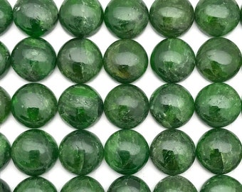 10mm - ONE Round Green Chrome Diopside Cabochons Gemstones
