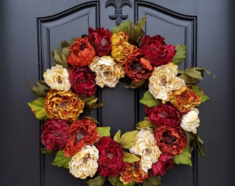 Holiday Wreath for Front Door, Bronze Holiday Decor, Holiday Wreaths, FALL Front Door Wreath, Holiday Home Decor, Gold Wreaths, Peony Wreath
