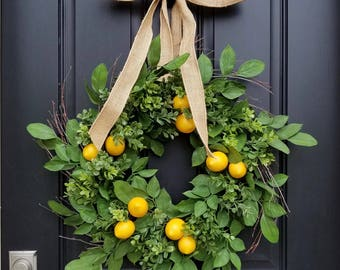 Lemons Wreath, Yellow Lemons Wreath, Boxwood and Lemons, Lemons, Thin Summer Door Wreaths, Narrow Wreaths, Front Porch Wreaths
