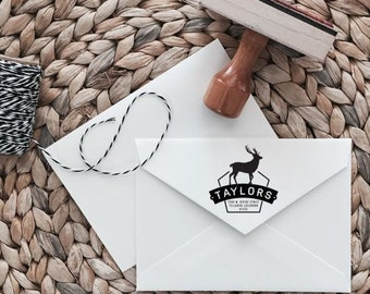 Custom Return Address Stamp | Elk Style | Wood with Handle or Self Inking