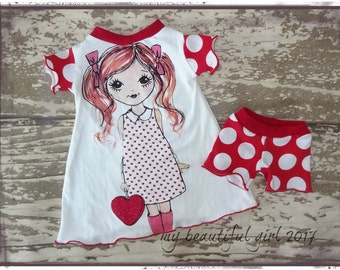 Valentines Girl Upcycled Doll Dress/Nightgown and matching shorts - Doll Outfit, Ready to ship