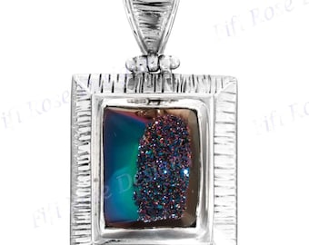 "Us-made 1 3/4"" Titanium Druzy Drusy 925 Sterling Silver Pendant"