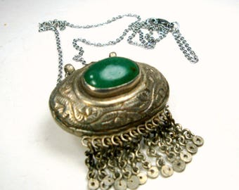 Small Tribal Metal Pendant, Green Glass Focal w 11 Tiny Chain Fringes, Vintage Mid East Medieval Necklace, New Chain