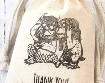 Where the Wild Things are Favor Bags - Set of 5 - Birthday Favors, thank you bags, welcome bags