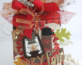 Cozy Fall Holiday Jumbo Deluxe Clip On Art Gift Tag~copper~red~gold~brown~thermos~tree ornament~lace~maple leaf~oak leaf~pretty packaging
