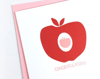 Pregnancy Card for Expecting Parents, Pregnancy Congratulations Card for Teacher, Parents To Be, Newborn Card, Red Apple Card for Baby Girl