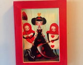 Print on wood - 5x7 - 'Queen of hearts' - Small Wood print framed