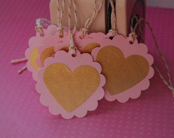 Pink and Gold Heart Tags-Set of 10 Tags-Baby Shower Favor Tag-Heart Gift Tag-Wedding Favor Tag-Rose Gold Wedding-Ready to Ship