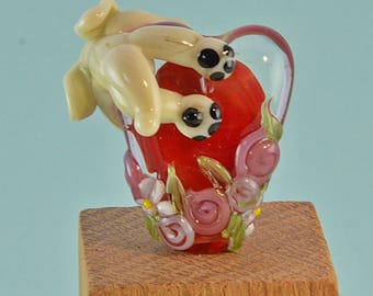 Percy the keeper of hearts and flowers Lampwork Glass Bead, Glass Sculpture Collectible, Focal Bead, Izzybeads SRA