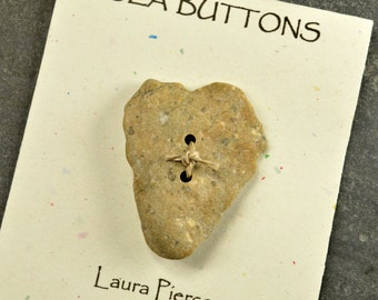 Sandy stone heart... a  naturally ocean shaped sandy tan Maine sea stone button  one of a kind statement for knitting and jewelry