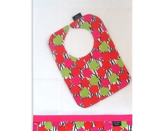 40% off Bib and Burp Cloth Set - Modern Grace fabric - reversible bib, cloth diaper burp cloth