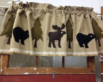 Rustic Moose and Bear Valance