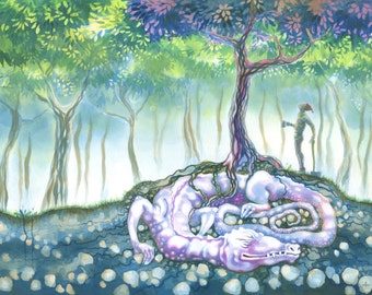 "Original dragon painting - ""The Red Tree"" - sleeping monstrous lizard, and curious woodcutter. Fantasy watercolour, art by Nancy Farmer"