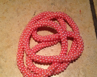 Handmade Crocheted Pink Pearl Infinity Necklace