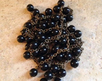 Black Beads on Antiqued Brass Chain Necklace