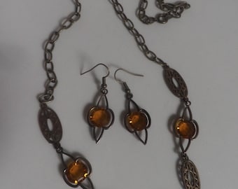 vintage Amber and Brass necklace and earring set