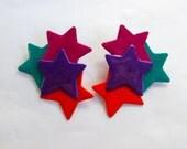 Vtg 1980s Glitter Star Earrings Fuchsia Teal Orange Purple