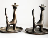 Vintage Giraffe Ring Holder, African Savannah Trinket Dish and Ring Holder, African Animal Decor Collectible, Giraffe Catchall Organizer