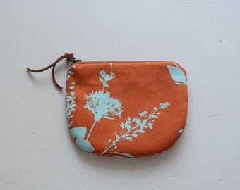 Rust Wildflowers Padded Round Zipper Pouch / Coin Purse / Gadget / Cosmetic Bag - READY TO SHIP