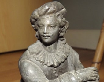 circa 1900 Rembrandt statue in white metal - help cats and kittens