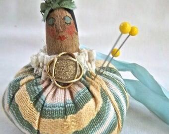 Vintage Sewing Doll Pincushion Vintage Craft Doll Pincushion Vintage Import Home and Living Collectible Pincushion Doll Handmade Vintage