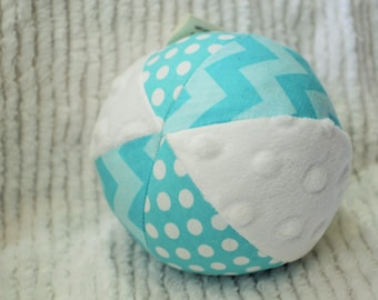 Turquoise Chevron/Polka Dot Jingle Ball Baby Toy with Minky
