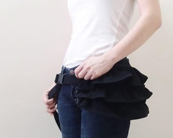 Gathered Waist Pouch in Black, Fanny Pack, Hip Bag, Zipper Pouch, Bridesmaid Gift, Gift ideas for Women - GWP -  SALE 30% OFF