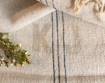 A 141:  antique handloomed french lin, linne , 리넨 WATER BLUE grain sack for pillows cushions runners 21.65 wide