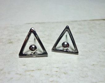 Silver Triangle Stud Earrings, Dainty Earrings