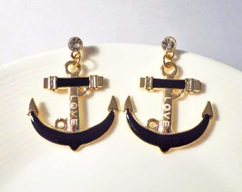 SALE - Anchor Drop Stud Earrings