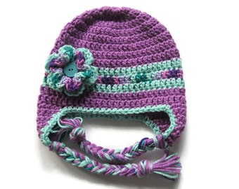 Ready To Ship - Crochet Plum & Teal Earflap Hat - Button and Flower Baby Girl Winter Hat - Size 12 to 24 Months