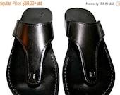 20% OFF Black Wave Leather Sandals for Men & Women - Handmade Unisex Sandals, Flip Flop Sandals, Jesus Sandals, Black Leather Sandals