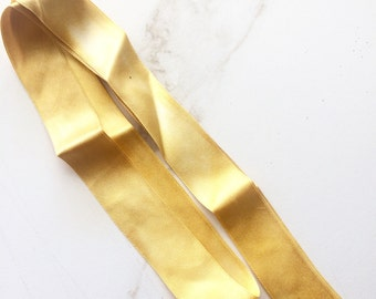 Satin Silk Ribbon. Golden Yellow Ribbon Hand Dyed By The ThreadGatherer. Ribbon.