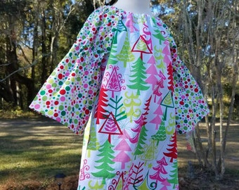 Trees and dots Christmas dress with bell sleeves, size 5