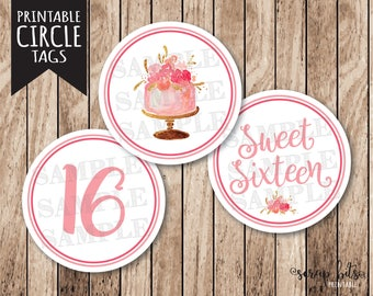 Instant Download Sweet Sixteen Tags . Printable Sweet 16 Tags, Printable Sweet 16 Party Circles, Pink & Gold Sweet 16 Cupcake Toppers