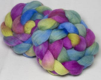 Corino combed top, Hand painted spinning wool, fibre, felting, spindle, roving, fibre, fiber. Giverny