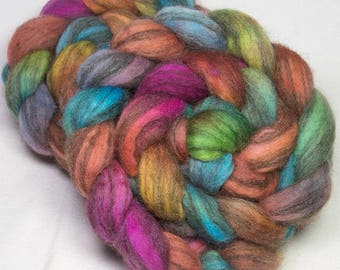 Hand Painted Corriedale Humbug, 100g, fibre, combed top, Hand painted roving, Humbug Corriedale, felting fibre, Sorrento