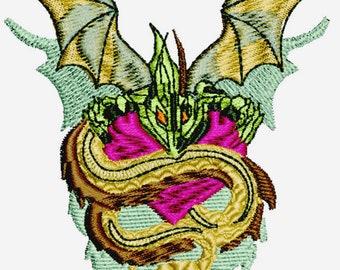 Dragon snake machine embroidery