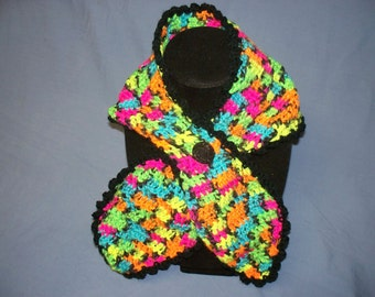 Fancy Crochet  Fashion Scarf  Bright Multi Colors with Fancy Button (Free US Shipping)