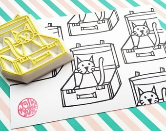 cat rubber stamp. cat in suitcase hand carved stamp. coloring stamp. cat lover card making. pet birthday crafts. stamp by talktothesun