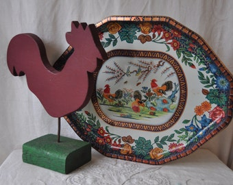 Year of The Rooster/Vintage Rooster Home Decor/Vintage Daher Large Tin Tray/Folk Art Wooden Rooster Statue