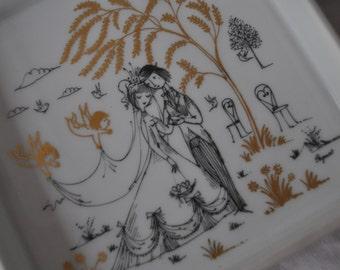 Rosenthal Studio Line Signed Porcelain Snack Dish Set/Vintage 1960s/Raymond Peynet Designer/Courting Couple/Bridal Shower Wedding Gift