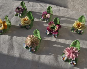 Eight Coalport Floral Place Card Holders/Vintage Bone China