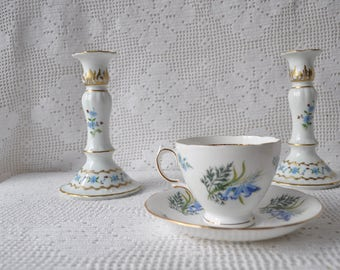 Vintage Limoges Porcelain Candlestick Holders/White With Cornflower Blue Blossoms/Pair of Rococo Style Candle Holders