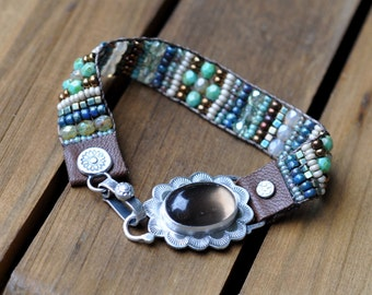 xX RESERVED Xx Remaining Balance xX Sterling Silver Smoky Quartz Bracelet, Leather Beaded Bracelet, Silver Bead Woven Cuff Bracelet