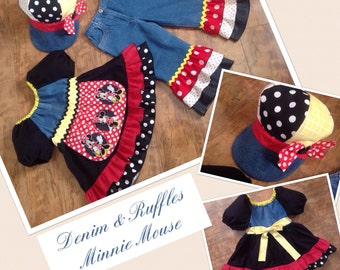 Denim & Ruffles Minnie Mouse * Disney Boutique peasant top + rhumba jeans / capris for child size 5 6 small pageant casual wear funky hat