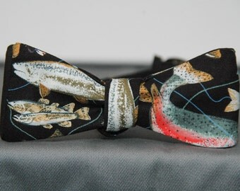 Trout and Flys on Black  Bow tie
